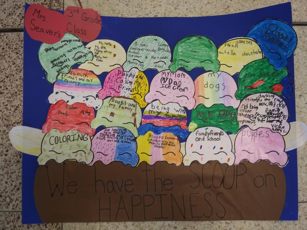 Happiness Challenge: Students from Mrs. Bailey, Mrs. Cipperly, Ms. Farley, Ms. Seaver and Mrs. Tully's class