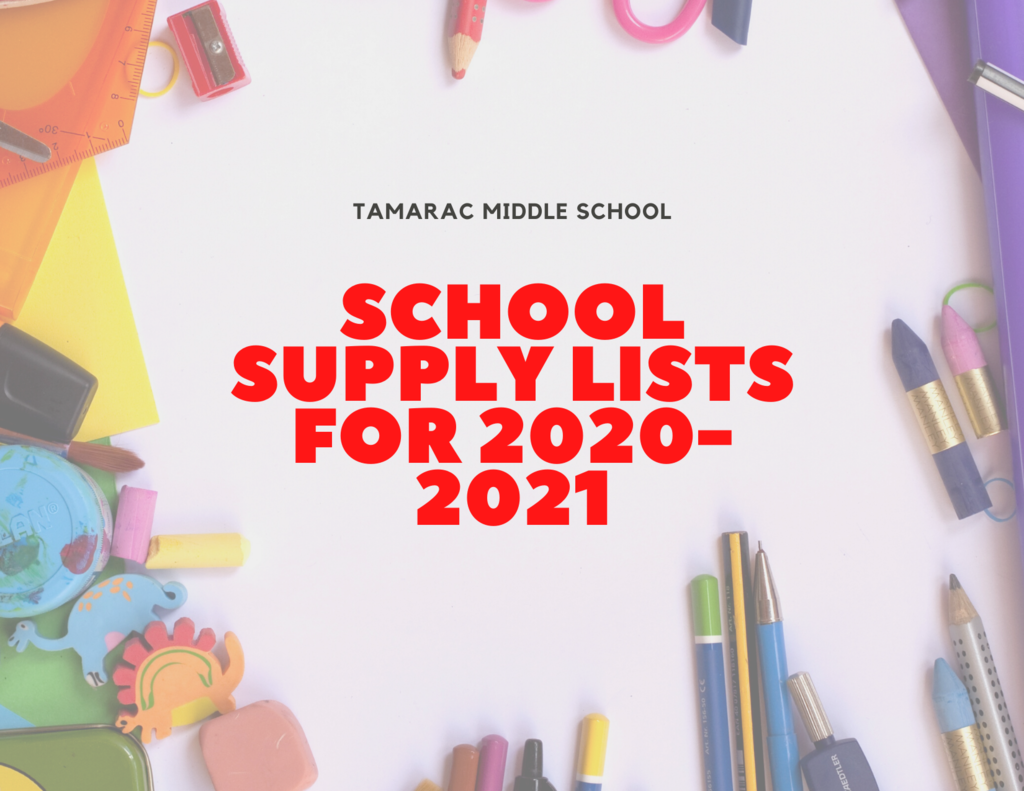Middle School Supply Lists for 2020-2021